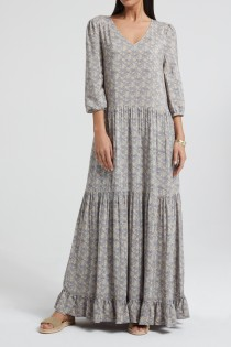 Maxi dress with floral print a