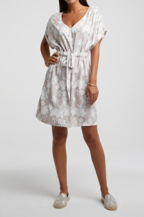 Belted dress with floral print