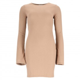 Ribbed Trumpet Sleeve Dress